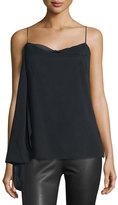 Rag & Bone Irina Draped Stretch Silk Tank, Black