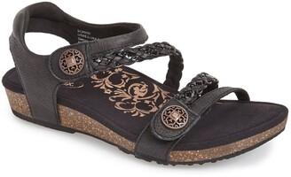 Aetrex 'Jillian' Braided Leather Strap Sandal