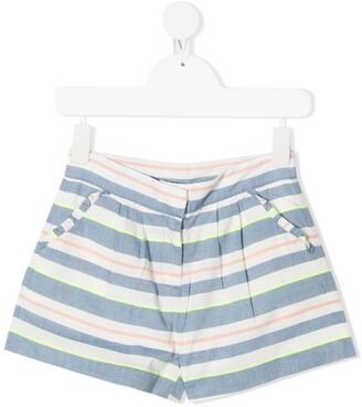 Knot Striped Cotton Shorts