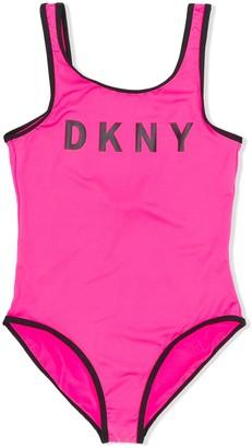 DKNY TEEN logo print swimsuit