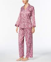 Miss Elaine Petite Brushed Satin Pajama Set