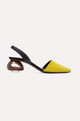 Neous Sarco Suede And Leather Slingback Pumps - Yellow