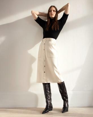 Jigsaw Denim Button Through Midi Skirt