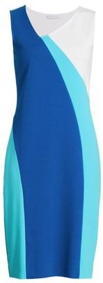 Joan Vass Geometric Colorblock Dress