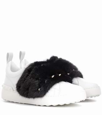 Valentino Garavani Open mink fur-trimmed leather sneakers