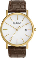 Bulova Mens Classic Brown Leather Strap Watch 97B100