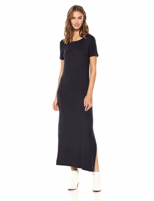 Daily Ritual Jersey Crewneck Short Sleeve Maxi Dress With Side Slit Casual