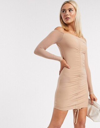 Love & Other Things ruched off shoulder mini dress in beige