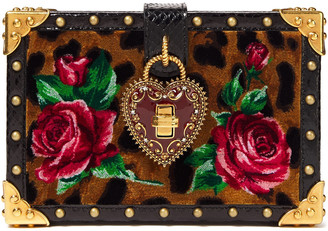 Dolce & Gabbana My Heart Embellished Printed Velvet And Ayers Box Clutch