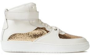 Red(v) Glam Slam Glitter-paneled Leather High-top Sneakers