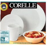 Corelle 16-Piece Vitrelle Glass Winter Frost White Chip and Break Resistant Dinner Set, Service for 4, White
