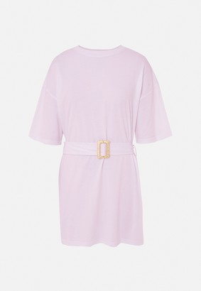 Missguided Lilac Raffia Belted Oversized T Shirt Dress