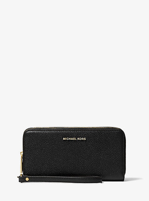 MICHAEL Michael Kors MK Jet Set Pebbled Leather Double-Zip Continental Wristlet - Black - Michael Kors