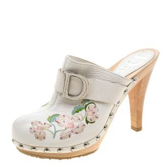 Christian Dior White Leather Mules & Clogs