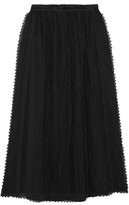 RED Valentino Lace-trimmed Tulle Midi Skirt - Black