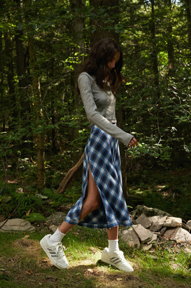 Urban Outfitters Emmet Plaid Side-Slit Midi Skirt