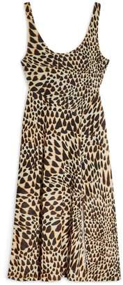Topshop Petite Animal Mesh Tye Dye Midi Dress