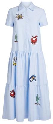 Mira Mikati Patch-Embellished Tiered Midi Dress