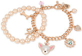 Betsey Johnson Rose Gold-Tone 2-Pc. Set Imitation Pearl and Dog Charm Bracelets