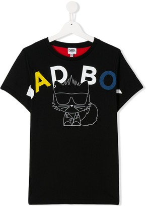 Karl Lagerfeld Paris Bad Boy print round neck T-shirt
