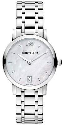 Montblanc 108764 Women's Star Classique Lady Date Bracelet Strap Watch, Silver/Mother of Pearl