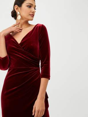 Gina Bacconi Velvet Wrap Front Dress - Wine