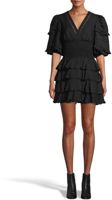 Nicole Miller Smocked Silk Ruffle Mini Dress