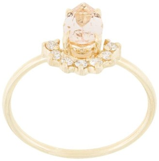 Natalie Marie 14kt Yellow Gold Morganite And Diamond Ring