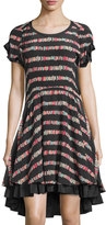 See by Chloe Striped Short-Sleeve High-Low Dress, Black