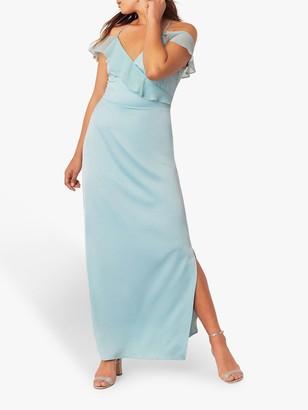 Oasis Ruffle Satin Maxi Dress, Pale Green