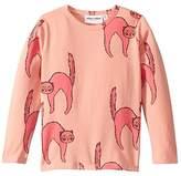 Mini Rodini Catz Long Sleeve Tee (Toddler/Little Kids/Big Kids) (Pink) Kid's Clothing
