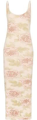 Paco Rabanne floral ribbed midi dress