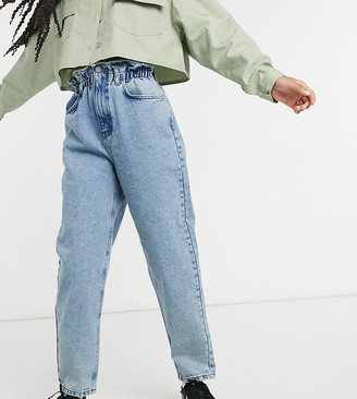 Reclaimed Vintage inspired The '96 mom jeans with gathered high waist in vintage blue wash