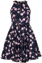 Quiz Navy And Pink Floral Print Skater Dress