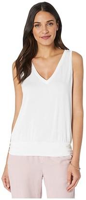 LAmade Bianca Banded Hem Tank in Micromodal Spandex (White) Women's Clothing