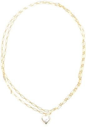 Timeless Pearly DOUBLE CHAIN HEART NECKLACE OS Gold, Silver
