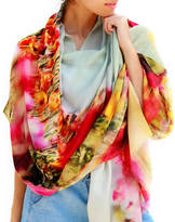Lenox Lincoln + Gift For Mum, Floral Scarf Cashmere And Silk, Tulips