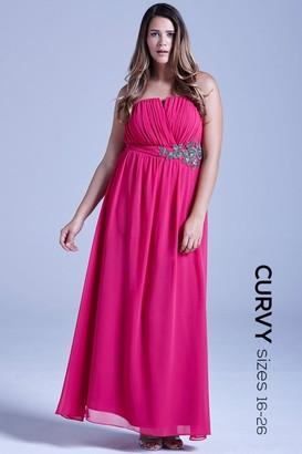 Little Mistress Curvy Pink Floral Embellished Bandeau Maxi Dress