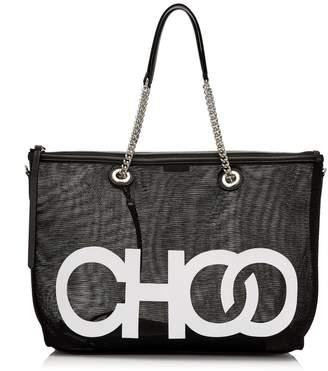 Jimmy Choo ALLEGRA Black Mesh Shoulder Bag with White Choo Logo