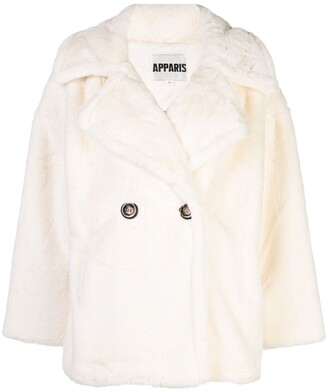 Apparis Anais double-breasted faux-fur peacoat