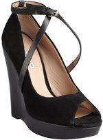 Charles by Charles David black suede wooden heel 'Nimble' peep toe wedge pumps