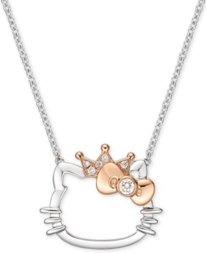 "Chow Tai Fook Diamond Accent Hello Kitty 18"" Pendant Necklace in 18k White Gold & Rose Gold"