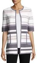 Misook Textured Striped Half-Sleeve Jacket, Petite