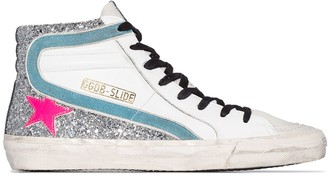 Golden Goose Slide glittered high-top sneakers
