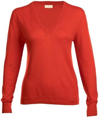 Asneh Poinciana Red Mathilda V Neck Cashmere Sweater
