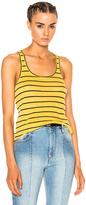 Etoile Isabel Marant Avien Striped Linen Tank in Stripes,Yellow.