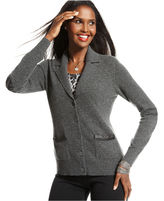 Charter Club Sweater, Long-Sleeve Faux-Leather-Trim Cashmere Cardigan