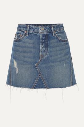 GRLFRND Eva Distressed Denim Mini Skirt - Dark denim