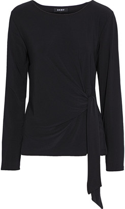 DKNY Knotted Stretch-knit Top