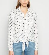 New Look Spot Tie Front Long Sleeve Shirt